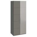 Шкаф с 1-й глухой и 1-й зеркальной дверями «Наоми» (Фон серый, Джут)