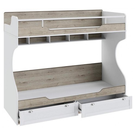Двухъярусная кровать «Ривьера» (Дуб Бонифацио/Белый)