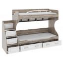 Двухъярусная кровать с лестницей с ящиками «Прованс» СМ-223.11.001 (Дуб Сонома трюфель/Крем)