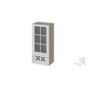 Шкаф навесной cо стеклом и декором (правый) В_96-45_1ДРДс(R) (Бежевый) 96 см