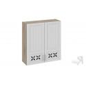 Шкаф навесной c декором В_96-90_2ДРД (Бежевый) 96 см