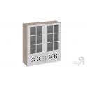 Шкаф навесной cо стеклом и декором В_96-90_2ДРДс (Бежевый) 96 см