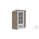 Шкаф навесной угловой c углом 45 со стеклом и декором ВУ45_96-(40)_1ДРДс(L) (Бежевый) 96 см