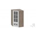 Шкаф навесной угловой c углом 45 со стеклом и декором ВУ45_96-(40)_1ДРДс(R) (Бежевый) 96 см