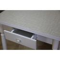 Стол обеденный ЛС-831 с ящиком (Лен 1312/ ноги Белые точеные)