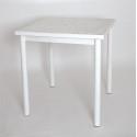 Стол на металлокаркасе СМЛ-1 (металл-белый + столешница Мрамор 415 ЛДСП)