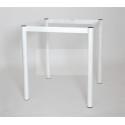Стол на металлокаркасе СМЛ-1 (металл-белый + столешница Кожа белая ЛДСП)