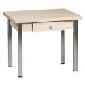 Стол обеденный ЛС-831 с ящиком (ЛДСП/Ясень шимо светлый/ ноги Хром)