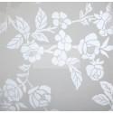 Табурет (Бежевые цветы-пластик/Белый-каркас)
