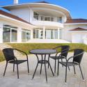 Обеденный комплект плетеной мебели из искусственного ротанга T282ANS/Y137C-W53 Brown 3Pcs