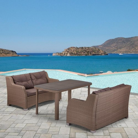 Обеденный комплект плетеной мебели из искусственного ротанга T51B/S51B-W60 Light brown