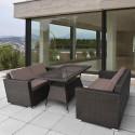 Обеденный комплект плетеной мебели из искусственного ротанга T198A/S52A-W53 Brown