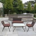 Плетеный комплект мебели из искусственного ротанга TLH-037/037D/40S Brown