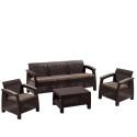 Пластиковый комплект для отдыха с диваном Yalta 3set AFM-1030A Brown/Cappuccino