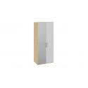 Шкаф для одежды с 1 глухой и 1 зеркальной дверями левый «Квадро» (Бунратти/Белый глянец) СМ-281.07.004