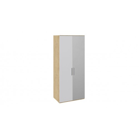 Шкаф для одежды с 1 глухой и 1 зеркальной дверями правый «Квадро» (Бунратти/Белый глянец) СМ-281.07.004