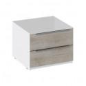 Тумба прикроватная с 2 ящиками «Синди» ТД 320.03.03 (Белый глянец/Баттл Рок)