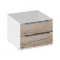 Тумба прикроватная с 2 ящиками «Синди» ТД 320.03.03 (Белый глянец/Дуб Делано)