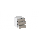 Тумба прикроватная с 3 ящиками «Синди» (Белый глянец/Баттл Рок)