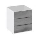 Тумба прикроватная с 3 ящиками «Синди» ТД 320.03.04 (Белый глянец/Дуб Гамильтон)