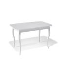 Стол обеденный Kenner 1200 С белый/стекло белое