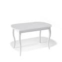 Стол обеденный Kenner 1300 C белый/стекло белое глянец