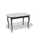 Стол обеденный Kenner 1300 C венге/стекло белое глянец