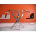 Стол обеденный Kenner R1300 стекло  прозрачное, опоры хром