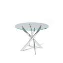 Стол обеденный Kenner R1000 стекло  прозрачное, опоры хром
