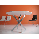 Стол обеденный Kenner R1000 стекло белое глянец, опоры хром