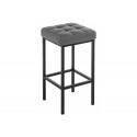 Барный стул Лофт кожзам темно-серый / черный матовый