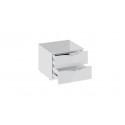 Тумба прикроватная с 2 ящиками «Глосс» (Белый глянец/Стекло)