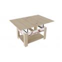 Журнальный столик тип 6 (трансформер) Дуб сонома/Белый (с рисунком)