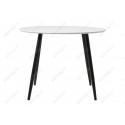 Стеклянный стол Анселм белый / черные ноги