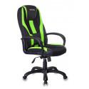 Кресло игровое Zombie VIKING-9/BL+SD черный/салатовый искусст.кожа/ткань